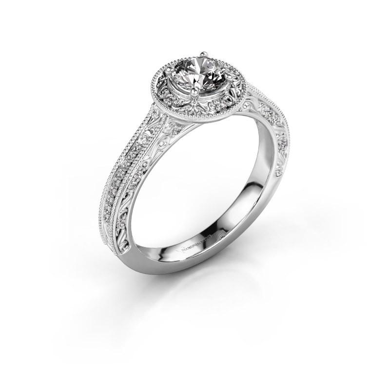 Verlovings ring Alice RND 585 witgoud diamant 0.60 crt