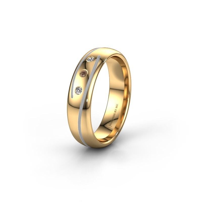 Trouwring WH0152L25A 585 goud bruine diamant ±5x1.7 mm