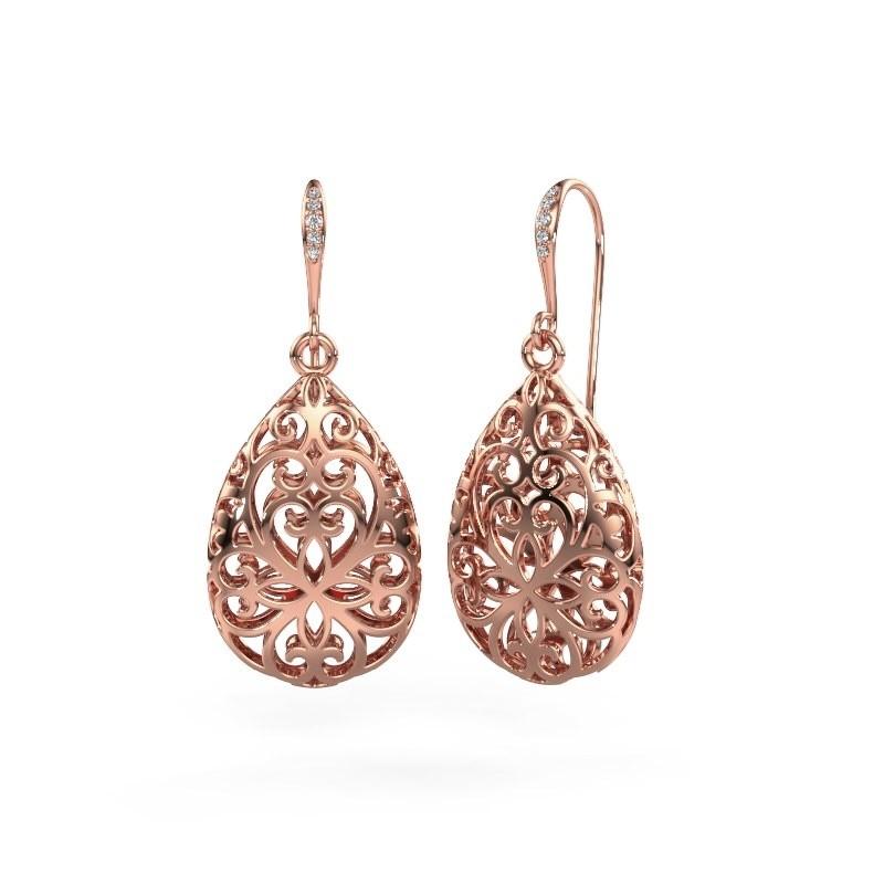 Oorhangers Idalia 1 585 rosé goud diamant 0.033 crt