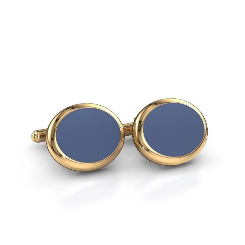 Manchetknopen Mario 585 goud blauw lagensteen 15x12 mm
