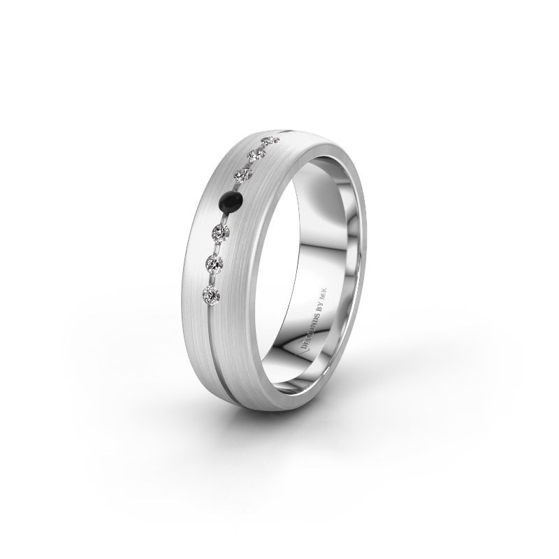 Trouwring WH0162L25A 950 platina zwarte diamant ±5x1.7 mm