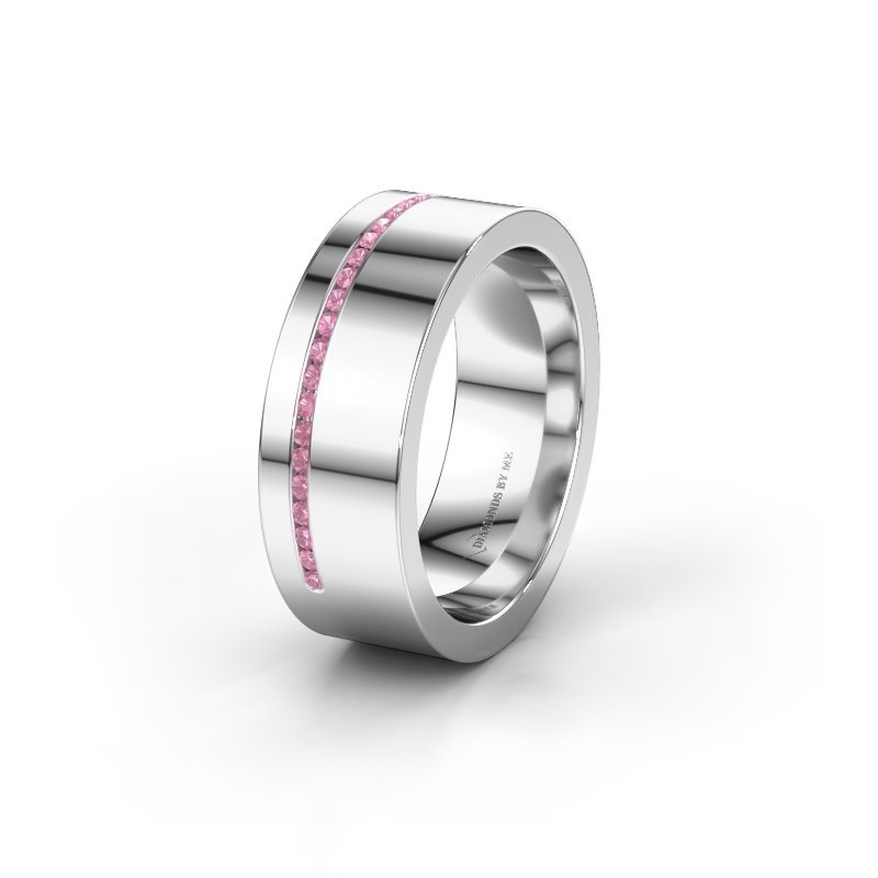 Trouwring WH0143L17BP 375 witgoud roze saffier ±7x2 mm