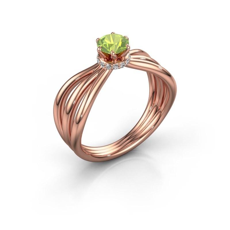 Verlovingsring Kimi 585 rosé goud peridoot 5 mm