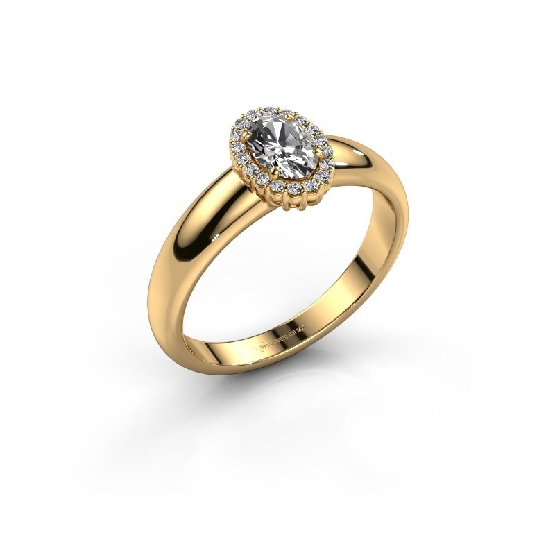 Engagement ring Tamie 750 gold zirconia 6x4 mm
