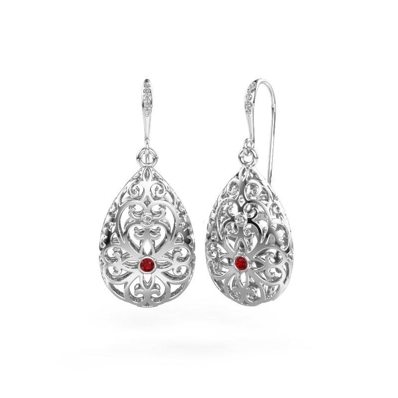 Drop earrings Idalia 2 585 white gold ruby 2 mm