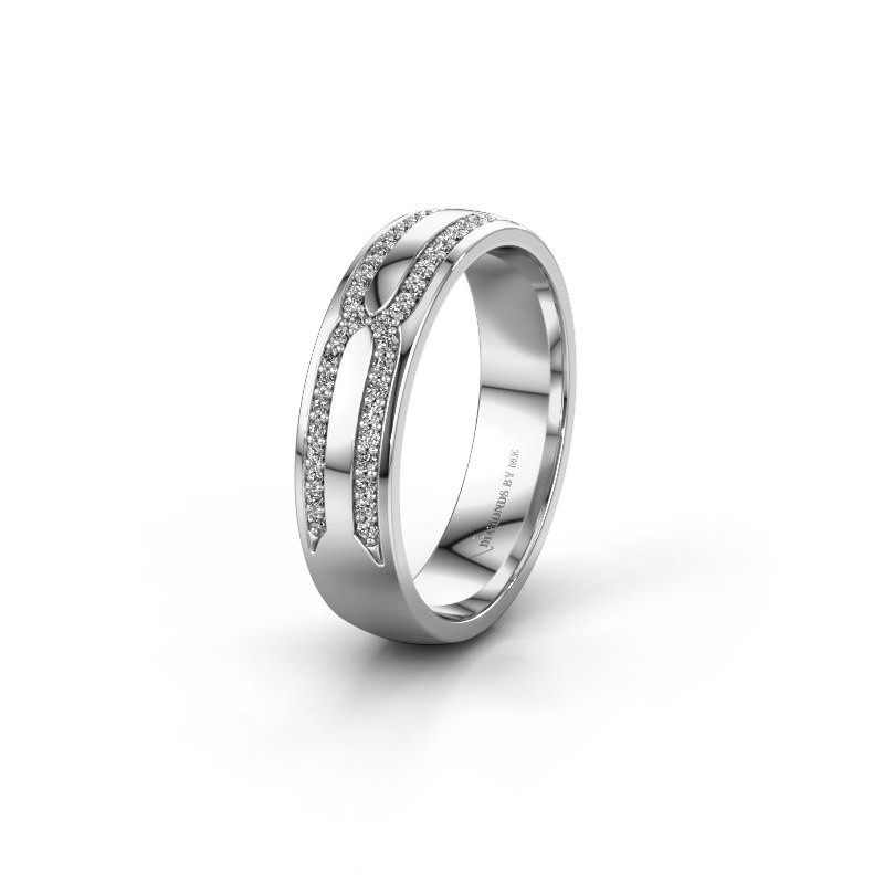 Trouwring WH2212L25AP 585 witgoud diamant ±5x1.7 mm