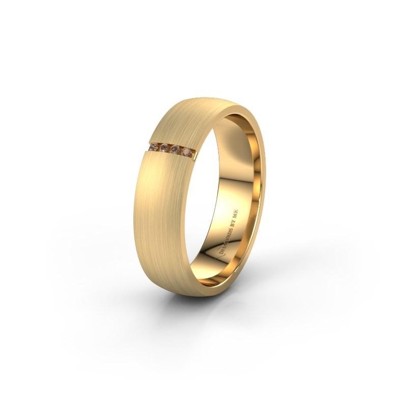 Trouwring WH0154L25XM 375 goud bruine diamant ±5x1.4 mm