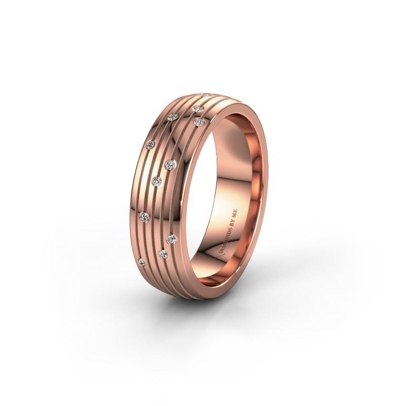 Trouwring WH0150L26A 585 rosé goud diamant ±6x1.7 mm