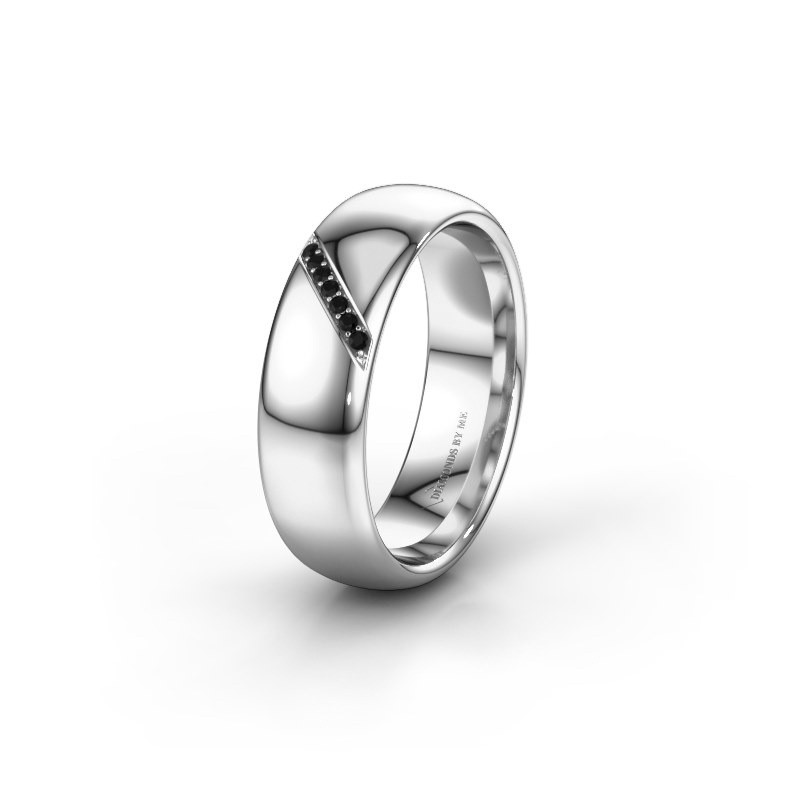 Trouwring WH0164L36B 375 witgoud zwarte diamant ±6x2 mm