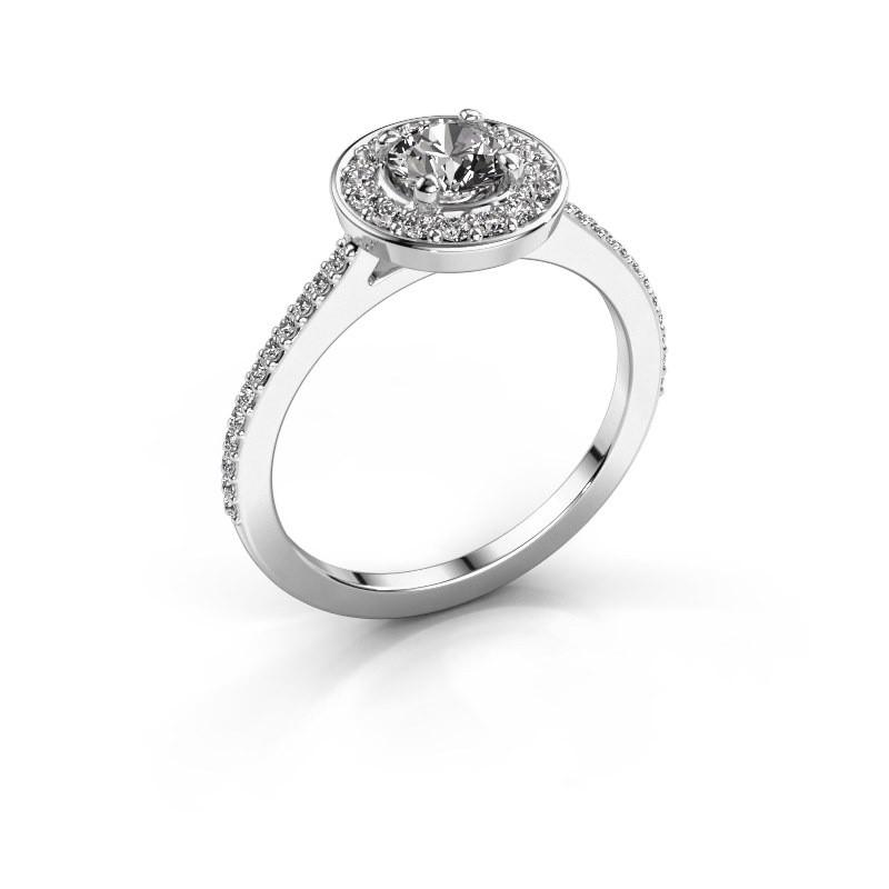 Ring Agaat 2 585 witgoud diamant 0.78 crt