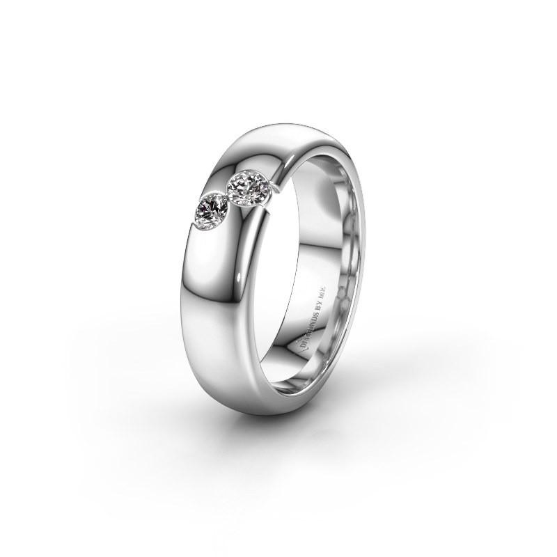 Trouwring WH1003L26C 585 witgoud diamant ±6x2.2 mm