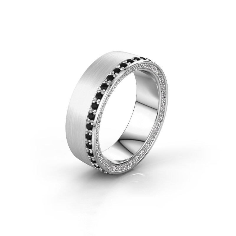 Trouwring WH2224L26C8 585 witgoud zwarte diamant 0.612 crt ±6x2.2 mm