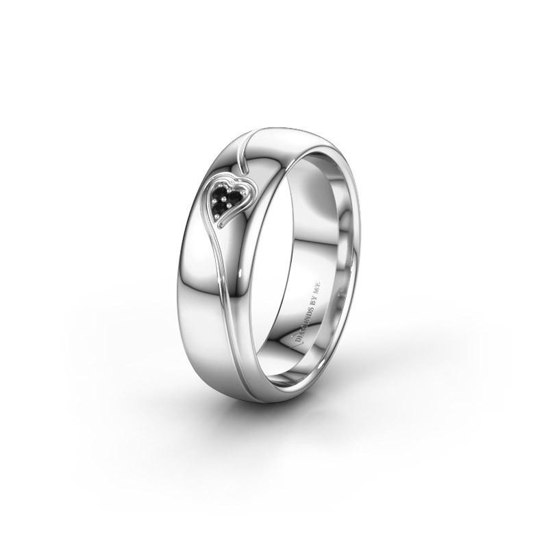 Trouwring WH0168L36AP 925 zilver zwarte diamant ±6x1.7 mm