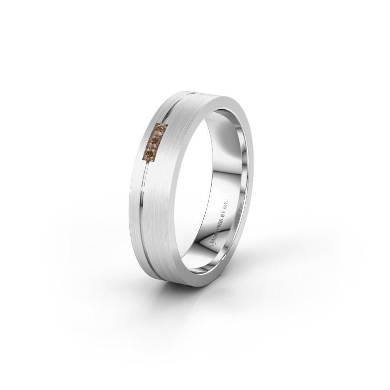Trouwring WH0156L14X 375 witgoud bruine diamant ±4x1.4 mm