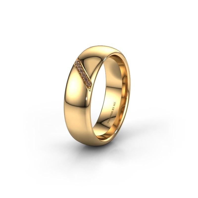 Trouwring WH0164L36B 585 goud bruine diamant ±6x2 mm