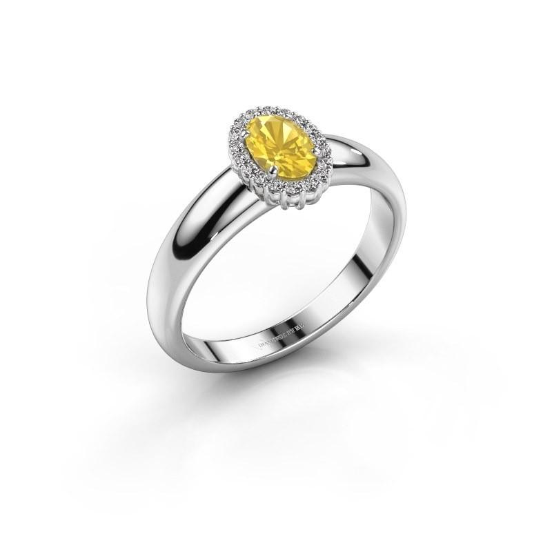 Verlobungsring Tamie 585 Weissgold Gelb Saphir 6x4 mm