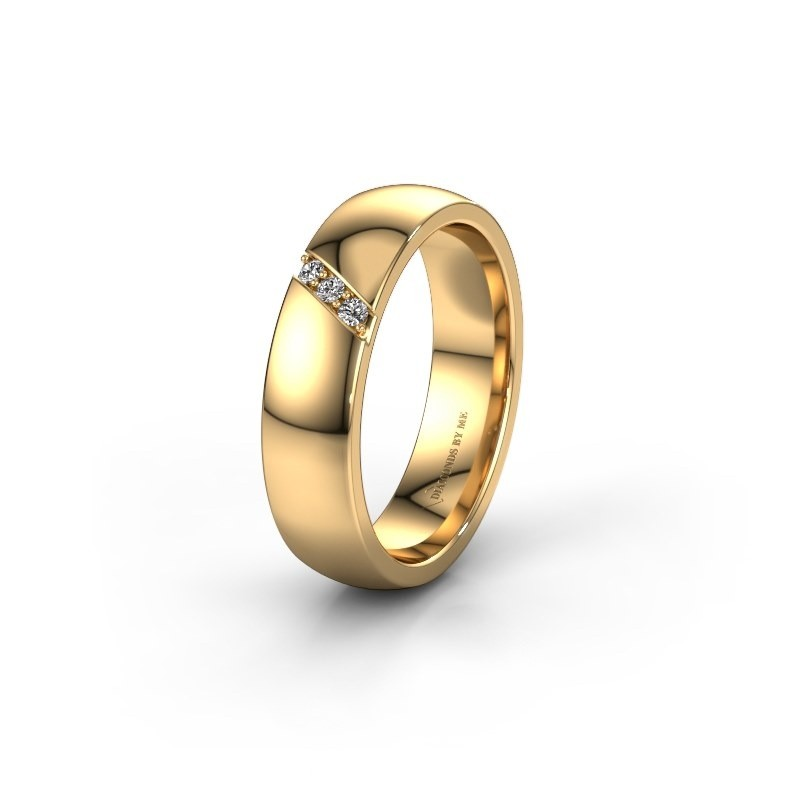 Trouwring WH0174L25BP 375 goud zirkonia ±5x2 mm