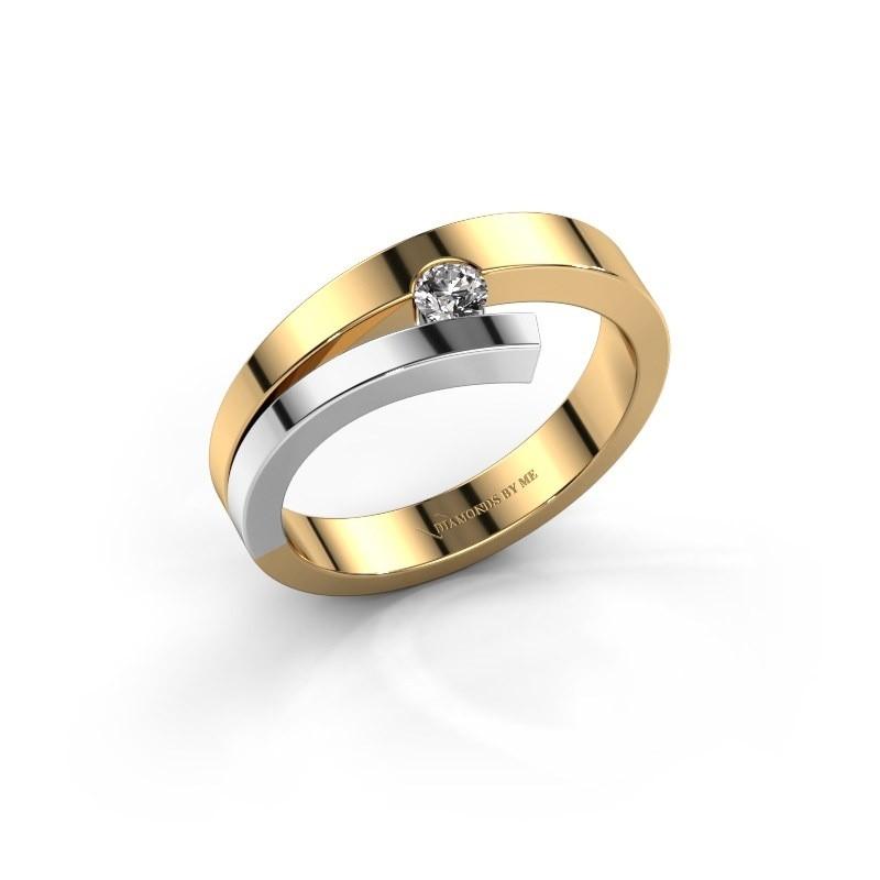 Ring Rosario 585 goud diamant 0.10 crt
