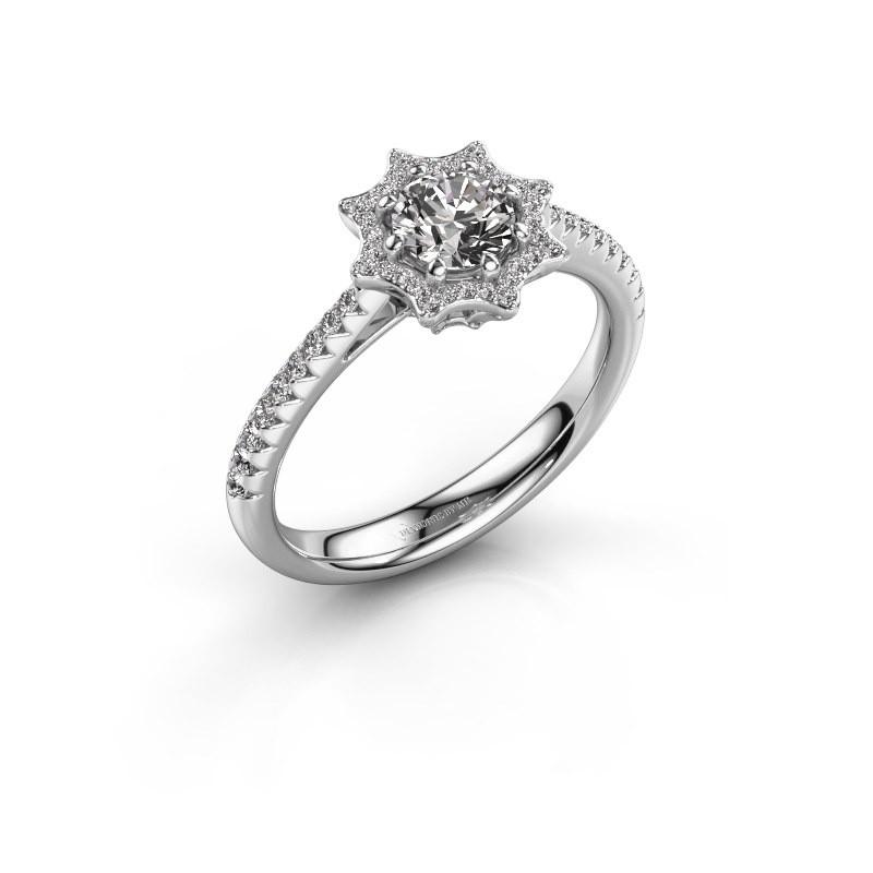 Aanzoeksring Zena 585 witgoud diamant 0.730 crt