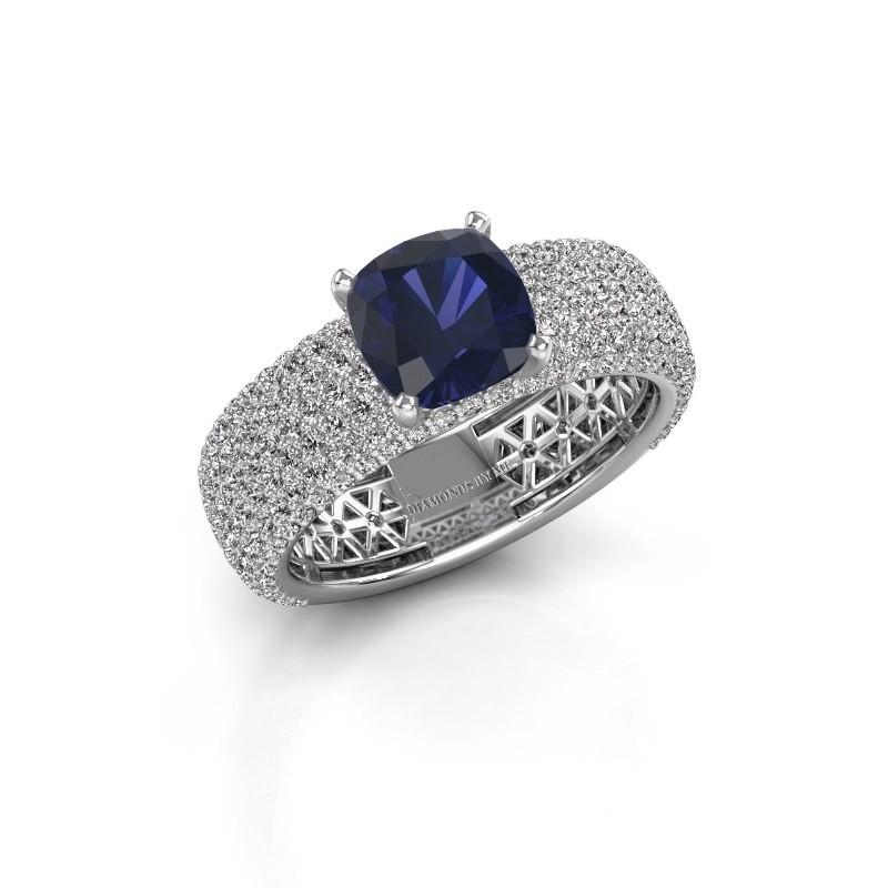 Verlovings ring Darcy 585 witgoud saffier 7 mm