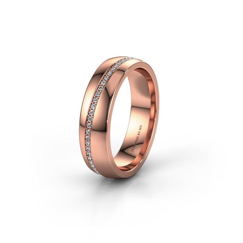 Trouwring WH0109L25A 585 rosé goud lab created ±5x1.7 mm