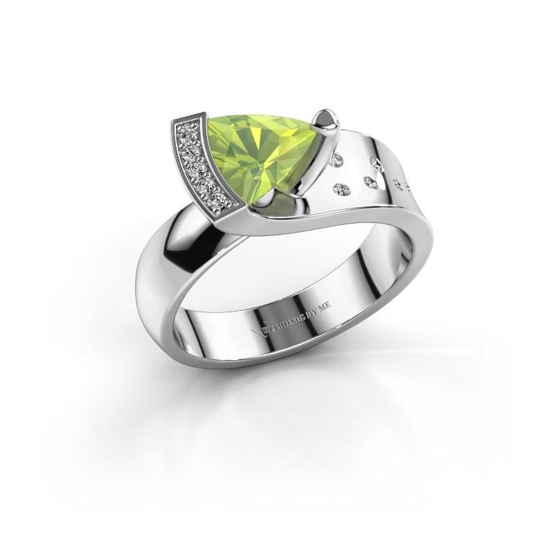 Ring Glory 2 585 witgoud peridoot 7 mm