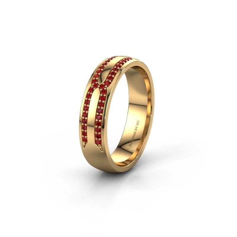 Trouwring WH2212L25AP 375 goud robijn ±5x1.7 mm