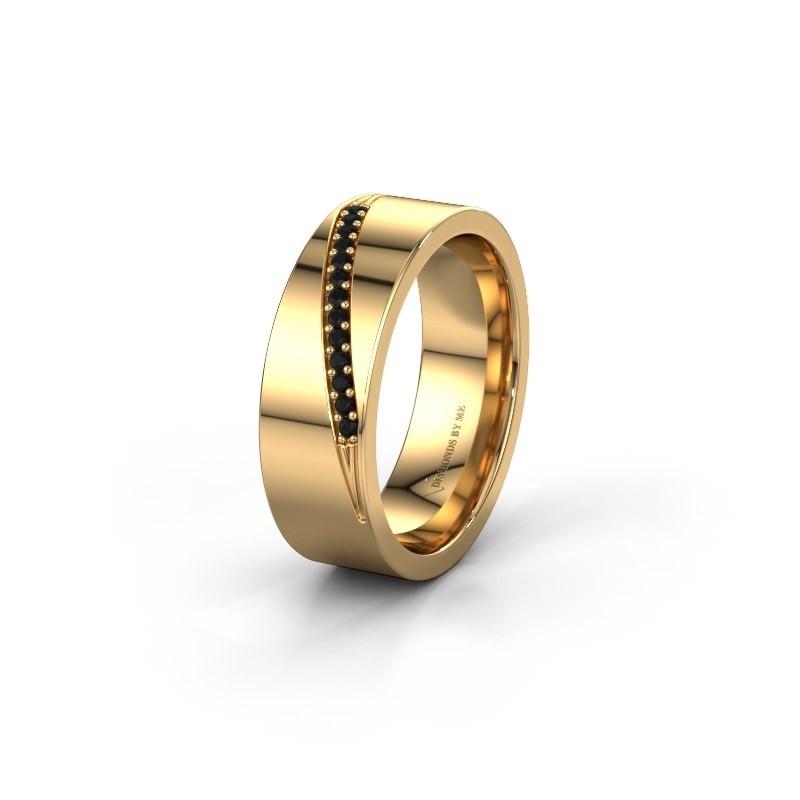 Trouwring WH2146L17A 585 goud zwarte diamant ±7x1.7 mm