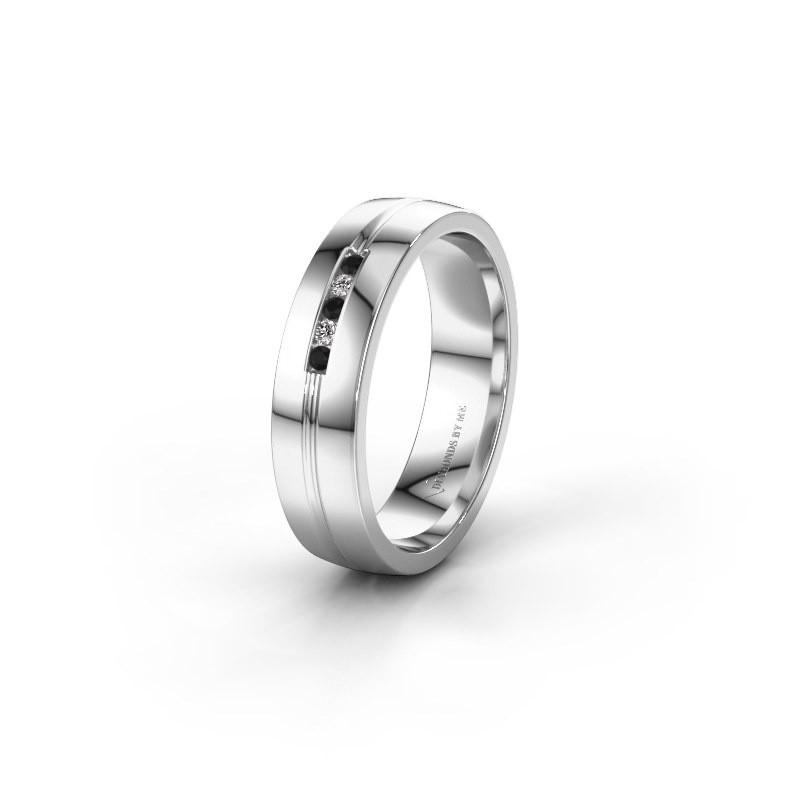Trouwring WH0132L25B 925 zilver zwarte diamant ±5x2 mm