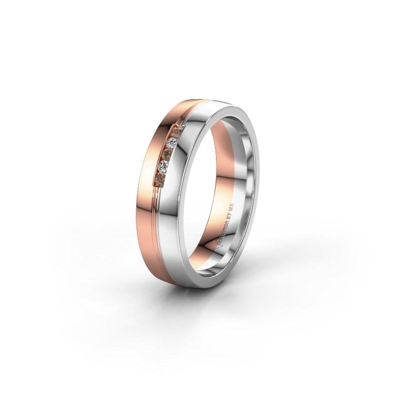 Trouwring WH0132L25B 585 rosé goud bruine diamant ±5x2 mm