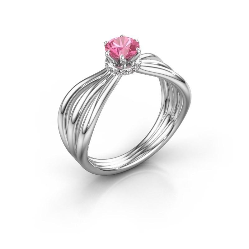 Verlovingsring Kimi 950 platina roze saffier 5 mm