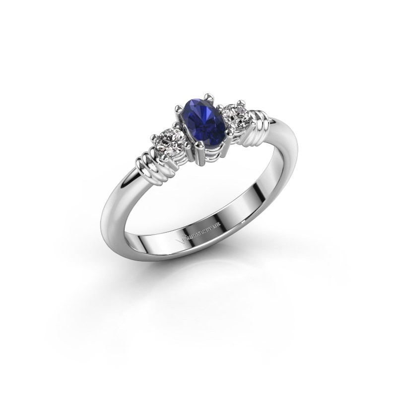 Promise ring Pippa 585 witgoud saffier 5x4 mm