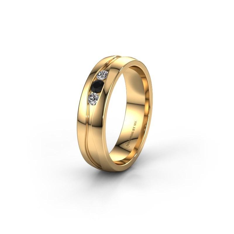 Trouwring WH0172L25A 375 goud zwarte diamant ±5x1.7 mm