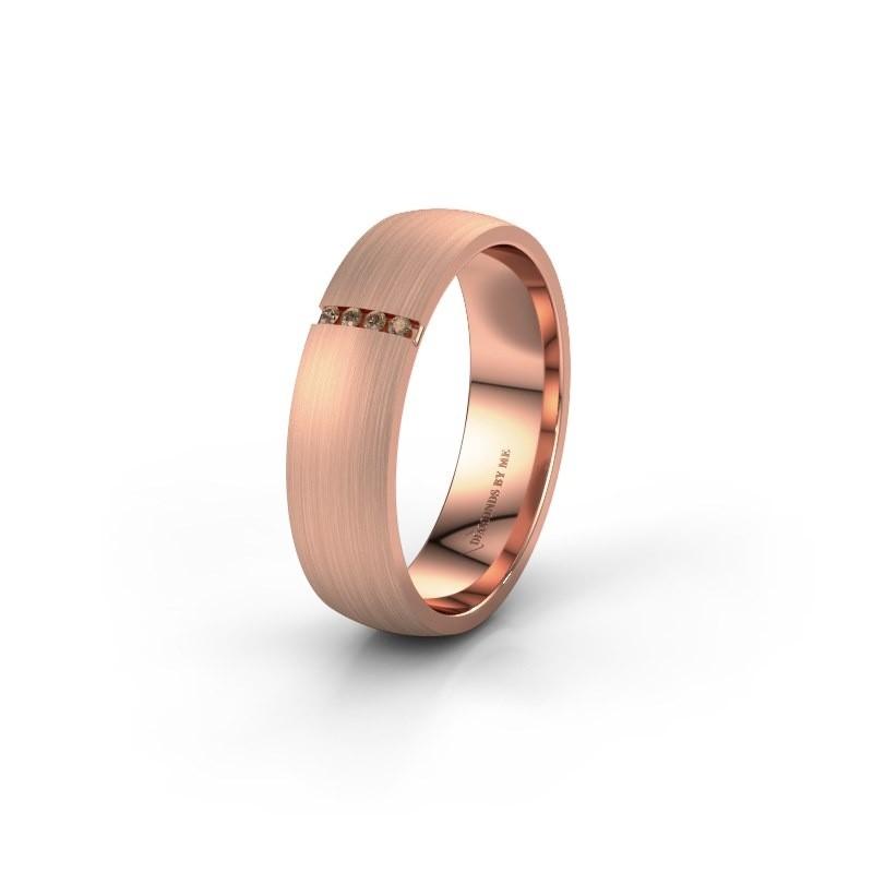 Trouwring WH0154L25XM 585 rosé goud bruine diamant ±5x1.4 mm