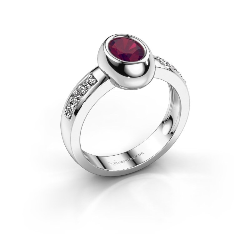 Ring Charlotte Oval 585 witgoud rhodoliet 7x5 mm
