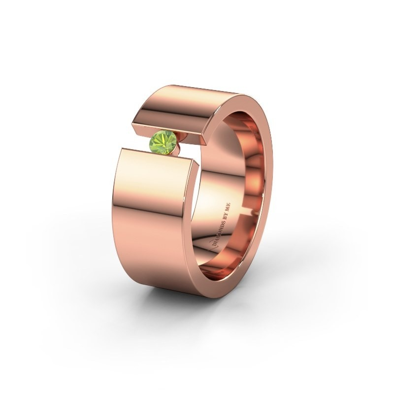 Trouwring WH0146L18BP 585 rosé goud peridoot ±8x2 mm