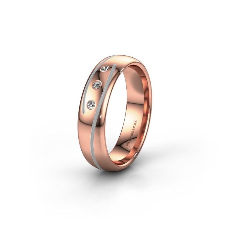 Trouwring WH0152L25A 585 rosé goud lab created ±5x1.7 mm