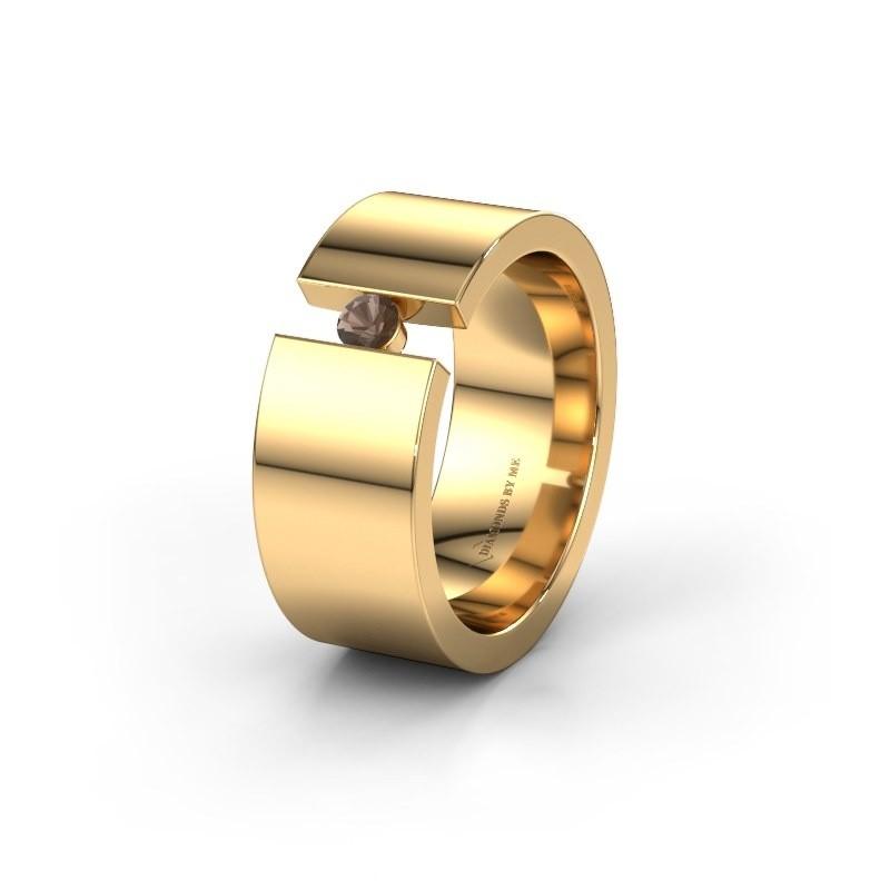 Trouwring WH0146L18BP 375 goud rookkwarts ±8x2 mm