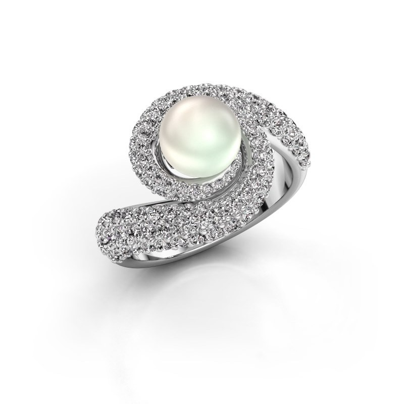 Ring Klasina 585 witgoud witte parel 7 mm