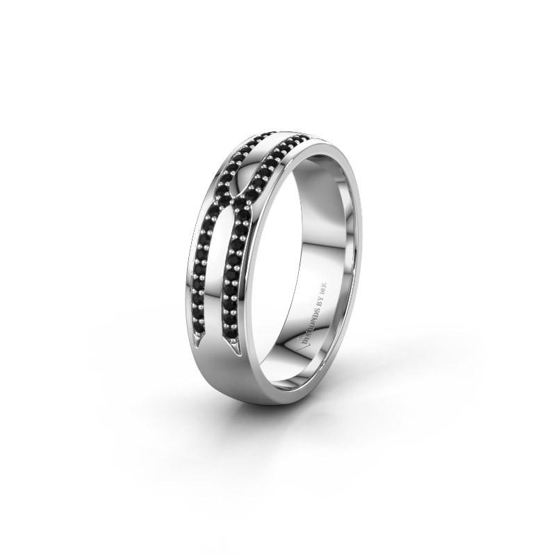 Trouwring WH2212L25AP 950 platina zwarte diamant ±5x1.7 mm