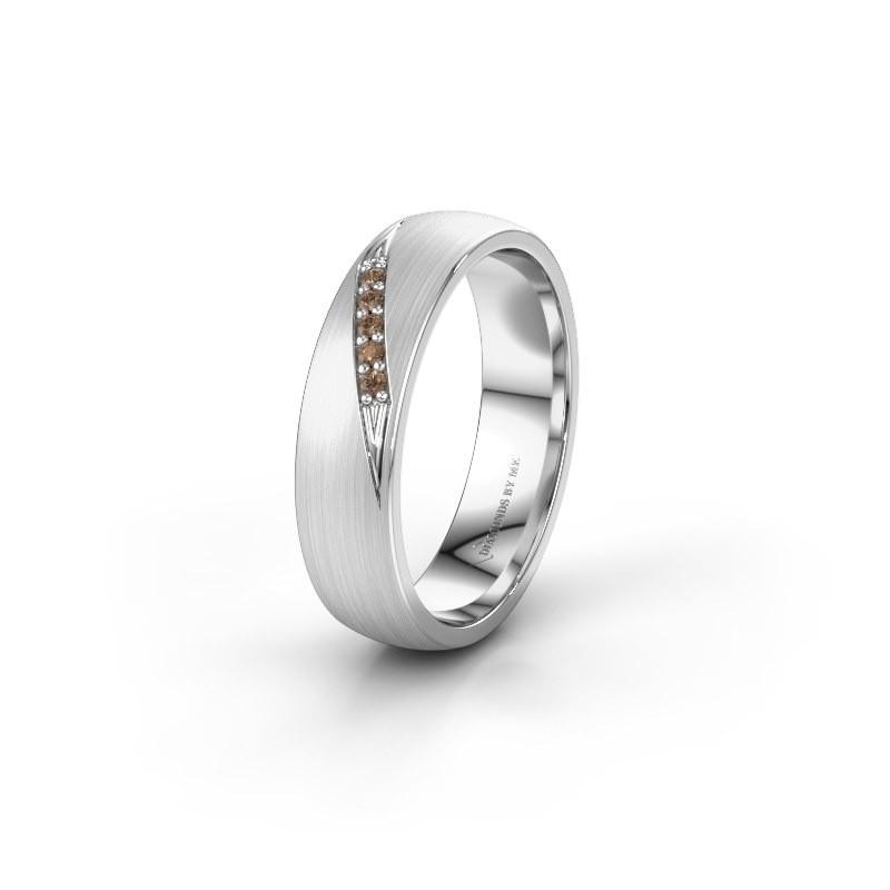 Trouwring WH2150L25AM 585 witgoud bruine diamant ±5x1.7 mm
