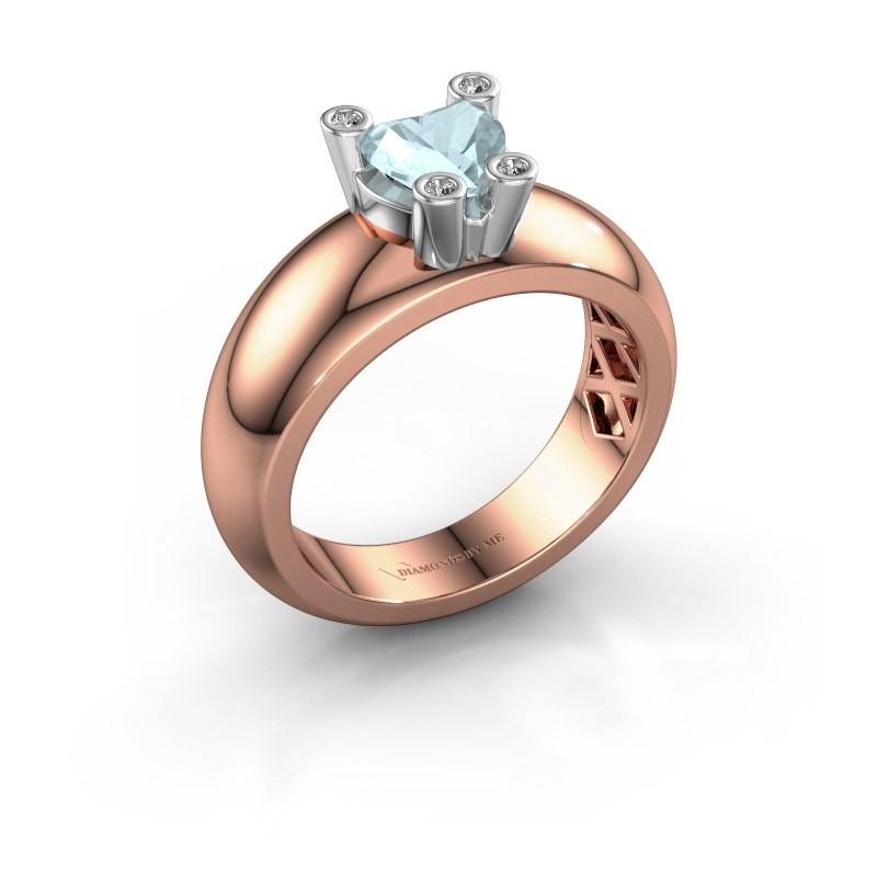 Ring Cornelia Heart 585 rosé goud aquamarijn 6 mm