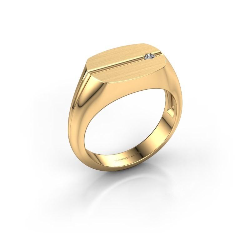 Herenring Stijn 585 goud diamant 0.03 crt
