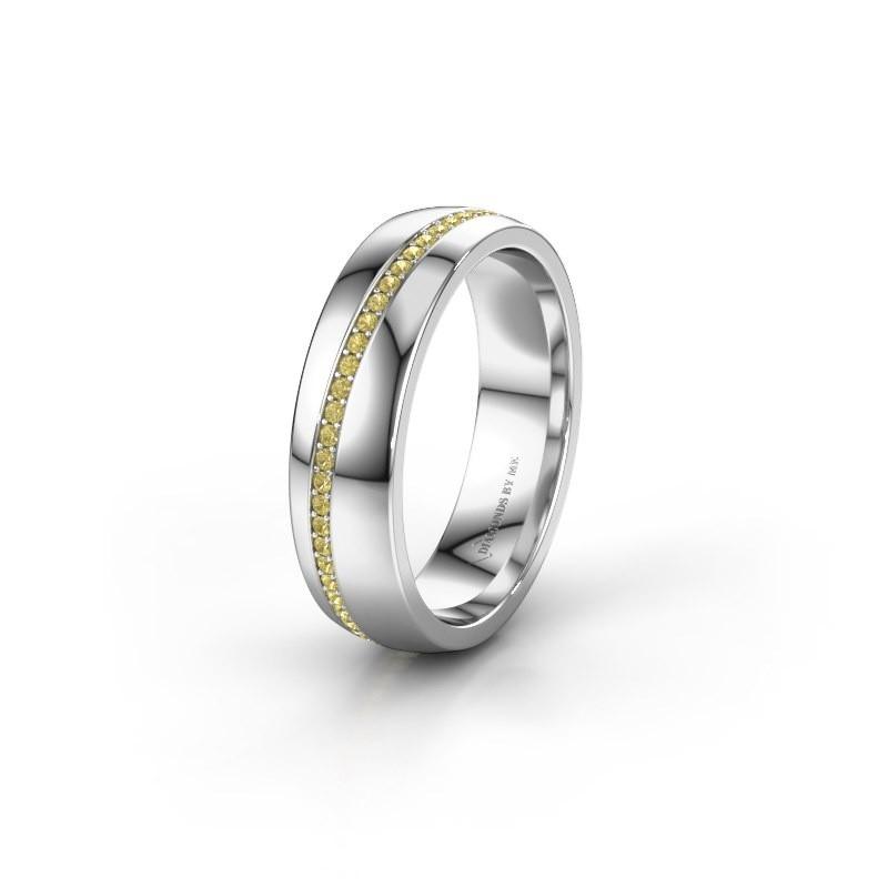 Trouwring WH0109L25A 925 zilver gele saffier ±5x1.7 mm