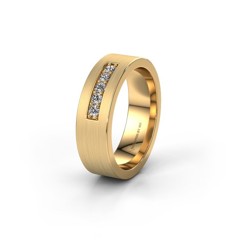 Trouwring WH0111L16BM 585 goud diamant ±6x2 mm