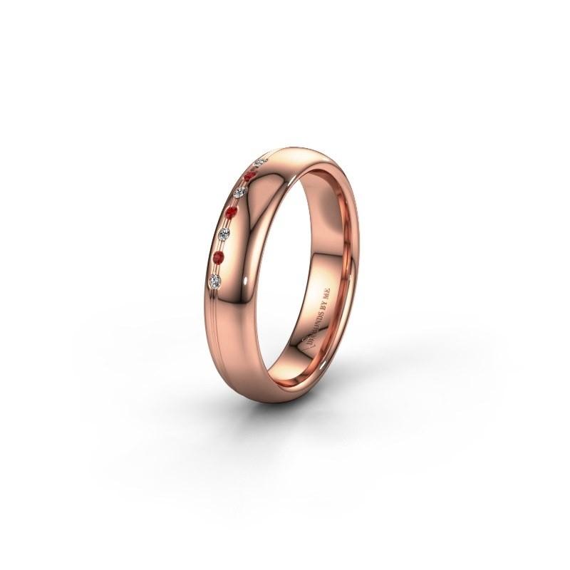 Vriendschapsring WH2144L34A 585 rosé goud robijn ±4x1.7 mm