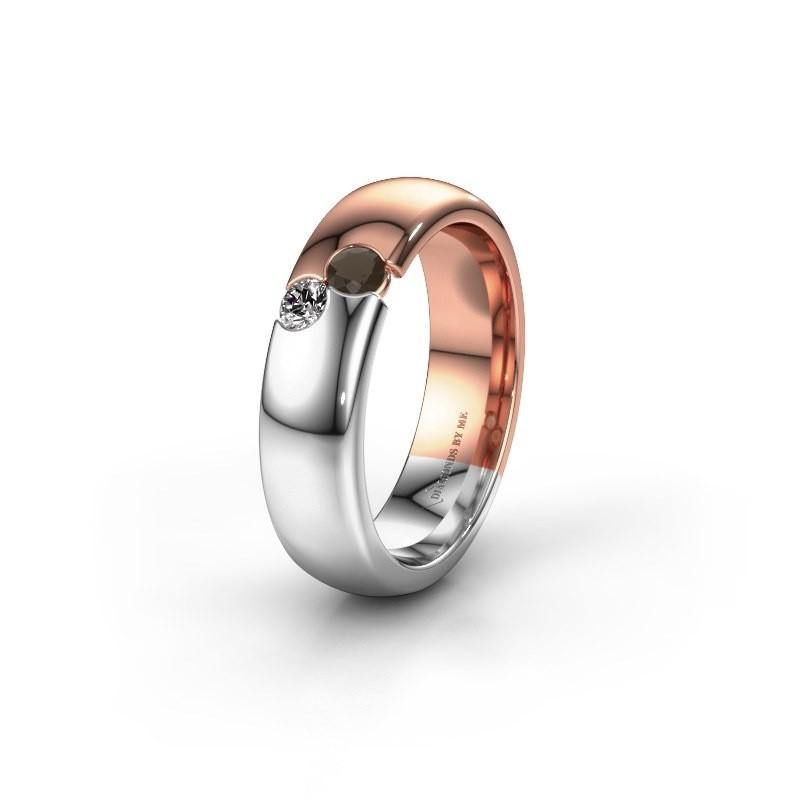 Trouwring WH1003L26C 585 rosé goud rookkwarts ±6x2.2 mm