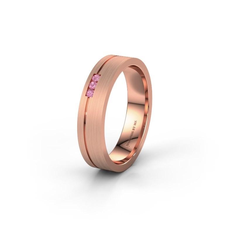 Trouwring WH0156L14X 585 rosé goud roze saffier ±4x1.4 mm