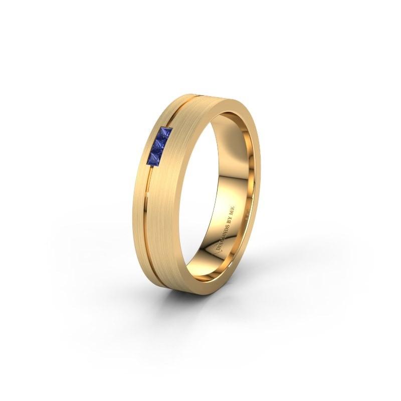 Trouwring WH0158L14X 375 goud saffier ±4x1.4 mm