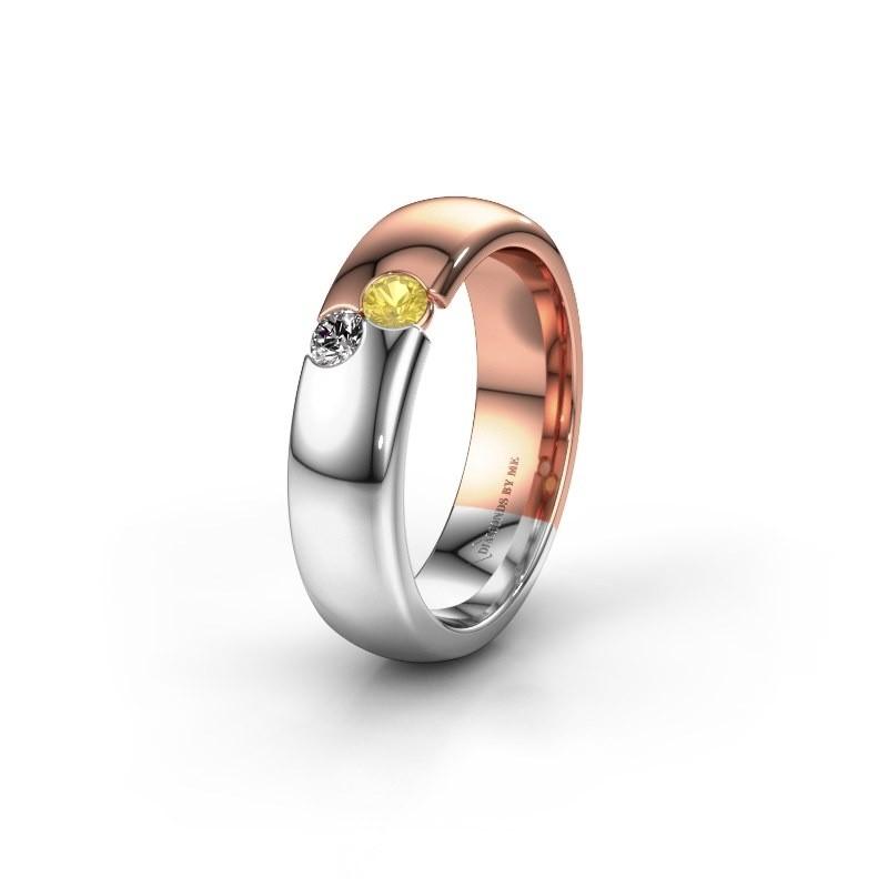 Trouwring WH1003L26C 585 rosé goud gele saffier ±6x2.2 mm